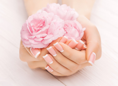 french manicure with pink tea rose flowers